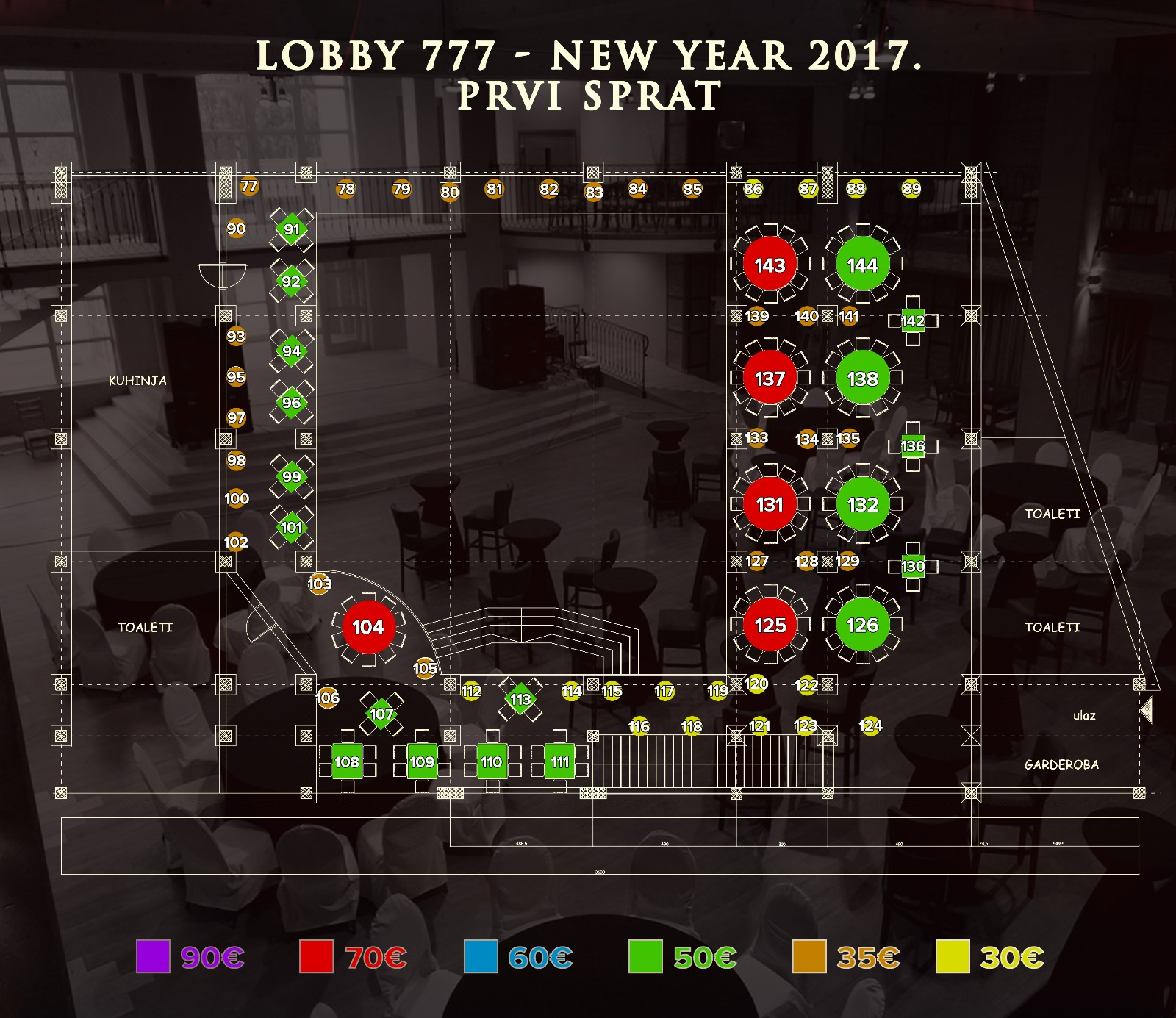 restoran lobby 777 mapa sedenja