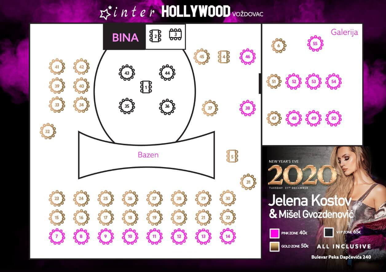 restoran hollywood vozdovac nova godina mapa sedenja