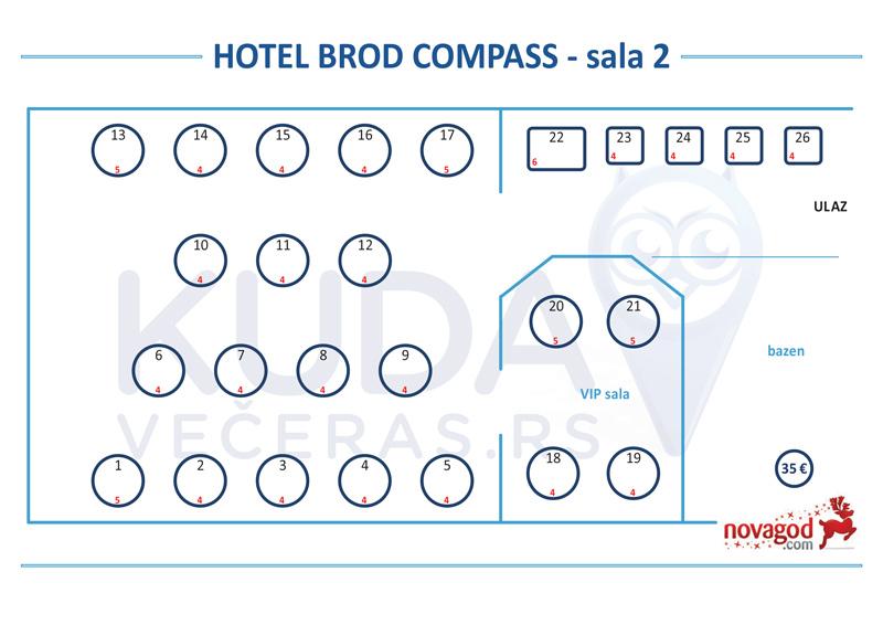hotel compass nova godina mapa sedenja sala 2