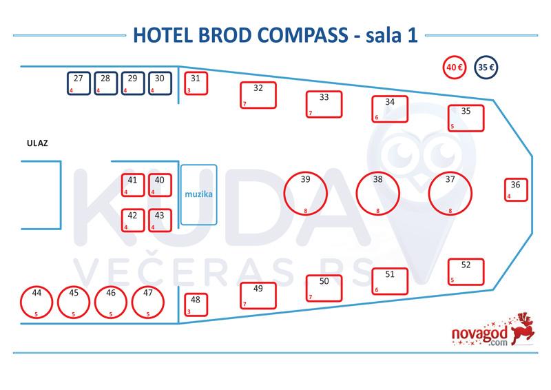 hotel compass nova godina mapa sedenja sala 1