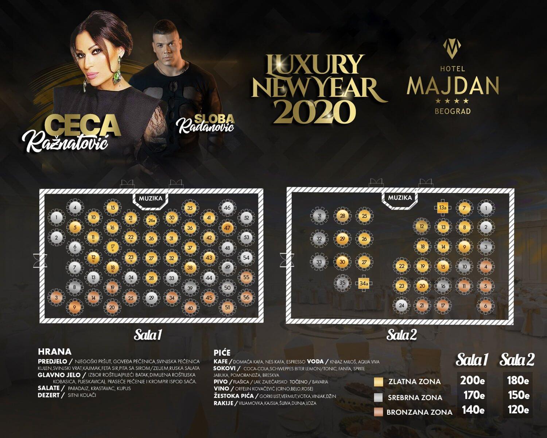 Hotel Majdan Nova godina Mapa sedenja