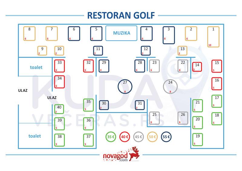 restoran golf nova godina mapa sedenja