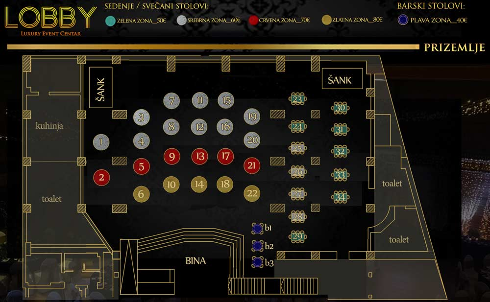 event centar Lobby nova godina mapa sedenja