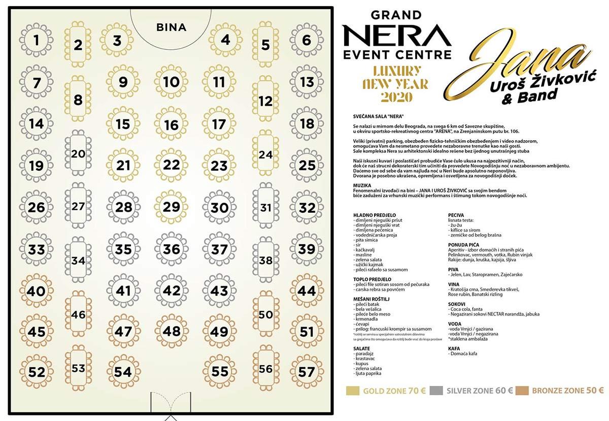 restoran nera event centar nova godina mapa sedenja