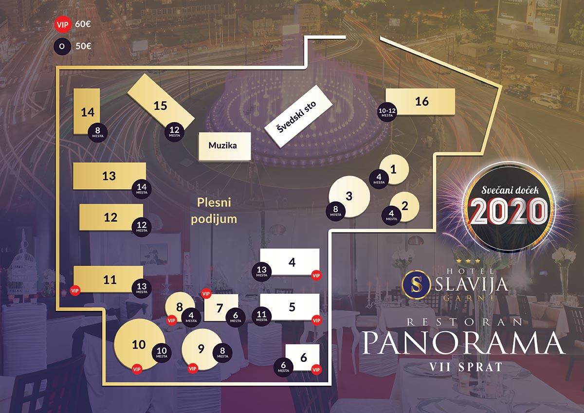 restoran panorama slavija nova godina mapa sedenja