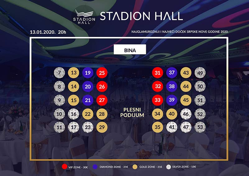 restoran stadion hall srpska nova godinA mapa sedenja