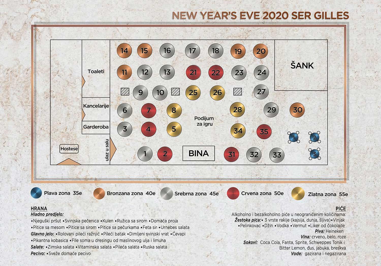 Ser Gilles Nova godina Mapa sedenja